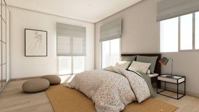 Foto render profesional plano habitación 3D