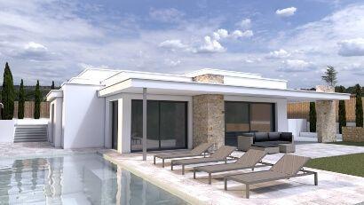 Render infografias arquitectura exterior piscina