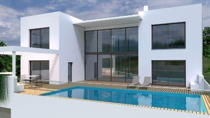 render infografia arquitectónica 3D edificio piscina